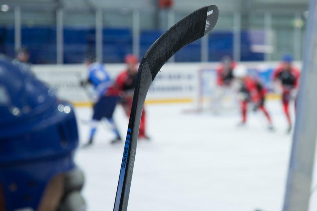 Hockey stick with hockey tape